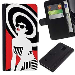 UberTech / Samsung Galaxy Note 4 SM-N910 / Fashion Lady White Black Red Style / Cuero PU Delgado caso Billetera cubierta Shell Armor Funda Case Cover Wallet Credit Card
