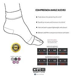 Gr8 Sport + Life Unisex Plantar Fasciitis Ankle Compression Sleeve Socks, White, Medium