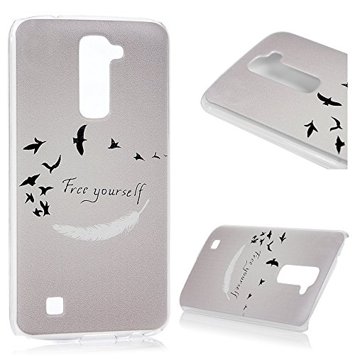 LG K10 PC Hartes Case Lanveni Hardcase Handyschale Schutzhulle Handycover Tasche Etui_Muster:Feder