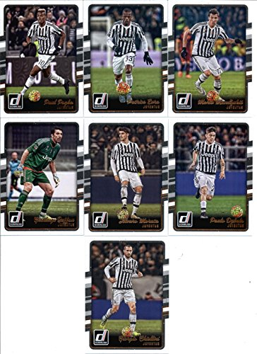 2016 Donruss Soccer Juventus Team Set of 7 Cards in Protective Snap Case: Alvaro Morata(#109), Gianluigi Buffon(#110), Giorgio Chiellini(#111), Mario Mandzukic(#113), Patrice Evra(#114), Paul Pogba(#115), Paulo Dybala(#116)