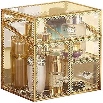 Borde dorado retro Caja de almacenamiento de vidrio Esmalte de ...
