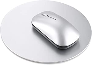 Metal Aluminum Mouse Pad - Office or Gaming Thin Round Alloy Hard Mouse Mat with Non Slip Rubber Base