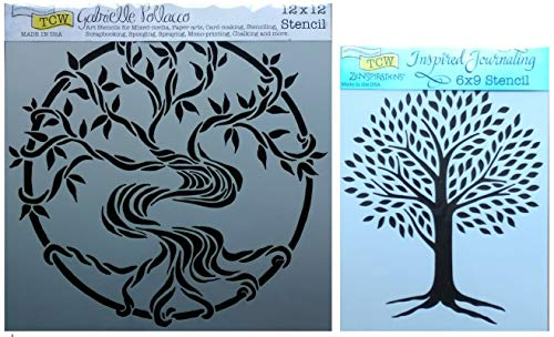 Tree of Life and Mystic Tree Stencils | Mixed Media Stencil Set for Arts, Card Making, Journaling, Scrapbooking | One 12 Inch x 12 Inch and One 6 Inch x 9 Inch Templates | by Crafters Workshop ()