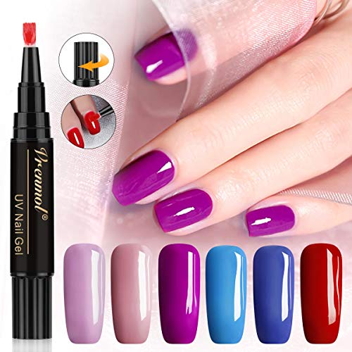 Vrenmol One Step Gel Nail Polish Pen,3 in 1 Soak Off UV LED Nail Varnish Nail Art Kit,No Base Top Coat Need,Hybrid 6 Colors Easy to Use UV Gel Lacquer (Pen Gel Nail)