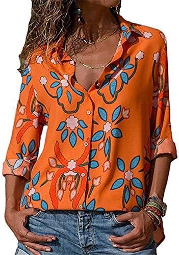 SETGVFG Blusas De Mujer Moda De Manga Larga Cuello Vuelto Camisa De Oficina Blusa De Ocio Camisa Casual Tops Tallas Grandes Blusas Femininas XXL Naranja: Amazon.es: Deportes y aire libre