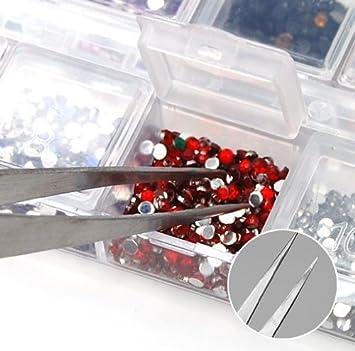 2 X Edelstahl Nail Art Pinzette Werkzeug Strass Edelsteine Wimpern Nail Art Acryl Gel Picking Werkzeug Werkzeuge