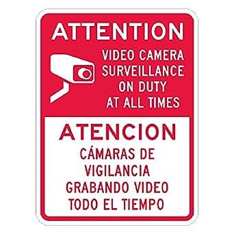 Amazon.com: Atención Cartel de vigilancia de vídeo con ...