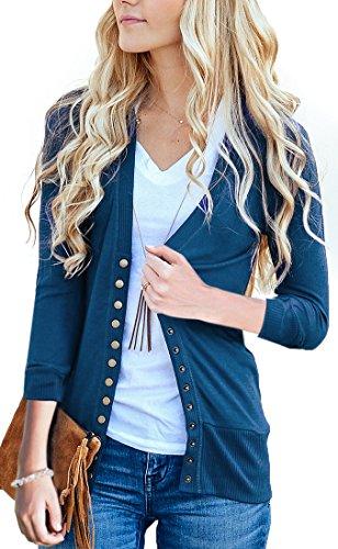 (NENONA Women's V-Neck Button Down Knitwear Long Sleeve Soft Basic Knit Cardigan Sweater(Navy Blue-3/4 Sleeve-M))