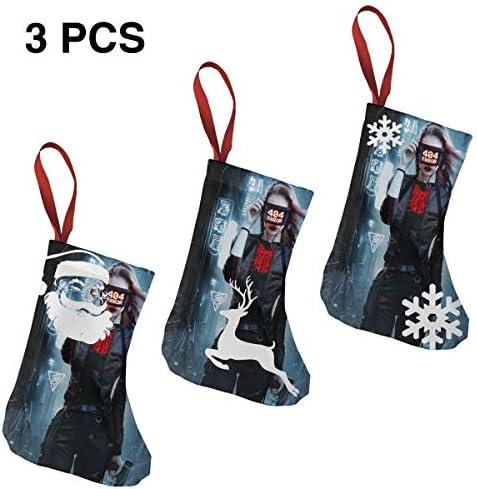 クリスマスの日の靴下 (ソックス3個)クリスマスデコレーションソックス シティウォーガール クリスマス、ハロウィン 家庭用、ショッピングモール用、お祝いの雰囲気を加える 人気を高める、販売、プロモーション、年次式
