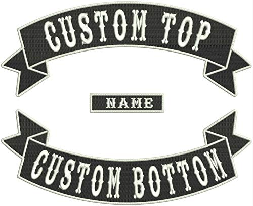 Custom Embroidered MC Biker Sew/Iron on Patches, Personalized Embroidery Rocker Patch Rider Motorcycle Patches Back Name Patch (Color ()