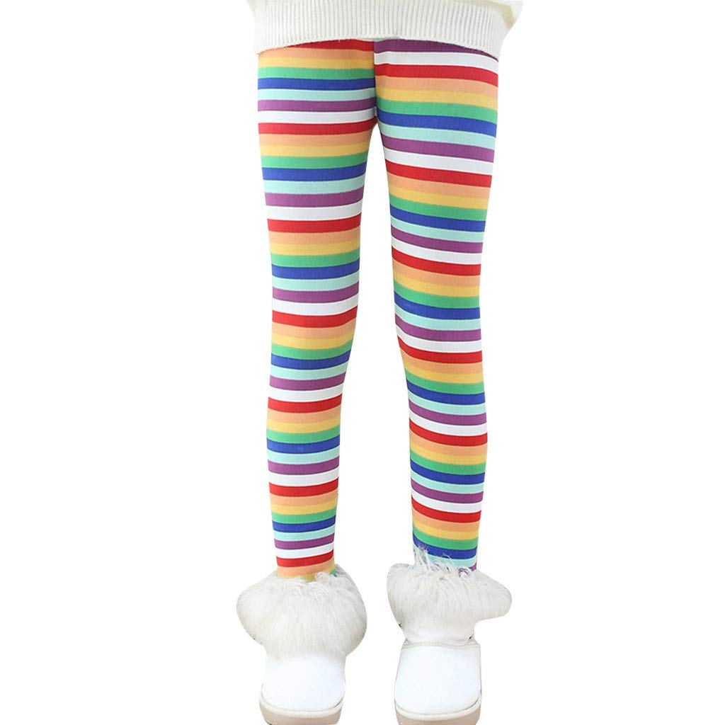 Toddler Kids Girls Winter Thick Warm Cotton Pants Rainbow Printing Fleece Lined Footless Tights Leggings