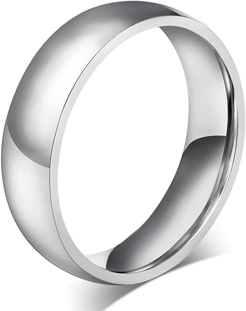 JAJAFOOK 6MM High Polished Plated Plain Stainless Steel Wedding Band Engagement Promise Ring
