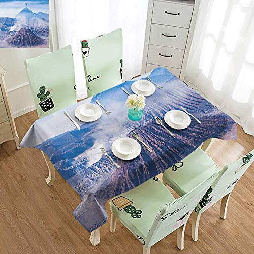 DILITECK Washable Table Cloth Volcano Bromo Batok and Semeru Volcanoes Java Island Indonesia Magma Activity Party W52 xL70 Light Blue Mauve White