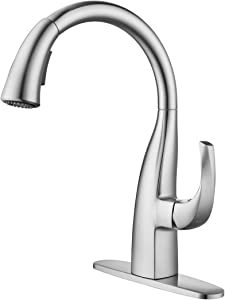WOWOW Kitchen Sink Faucet with Pull Down Sprayer Brushed Nickel Single Handle Commercial Modern Kitchen Faucet Leak Free 360 Degree Rotatable High Arc Stream Spray Faucet, Elegant Swan-neck Design