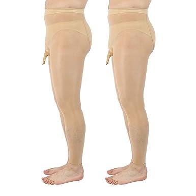 f747ce845e5 ElsaYX Men s Shiny Footless Pantyhose Tights Sheath Open  Amazon.co.uk   Clothing