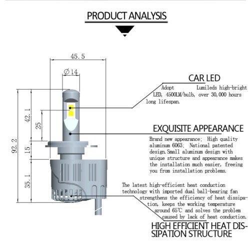 Shsyue 2pcs 10400LM Headlamps Model H8 H9 H11 4-LED Car Vehicle Headlights Conversion Set 110W 6000K by Shsyue® (Image #3)