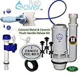 FlushSaver VINTAGE COLONIAL METAL & CERAMIC FLUSH HANDLE Dual-Flush Deluxe DIY Conversion Kit - FITS STANDARD 2'' Drain 2 Piece Toilets. Converts older toilets into efficient dual-flush systems.
