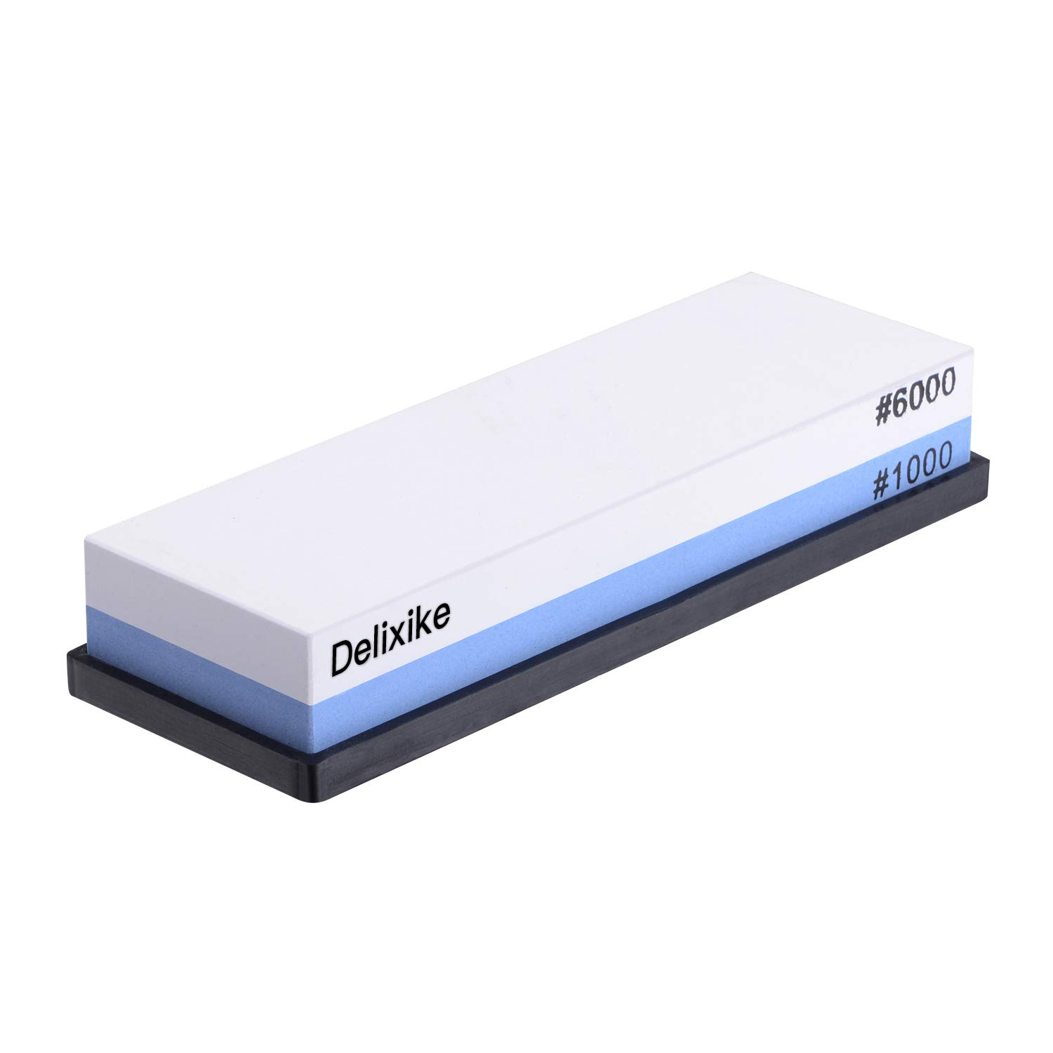 Delixike Whetstone, Knife Sharpening Stone 1000/6000 Grit Best 2-in-1 Double-Sided Combination, Kitchen Sharpener Waterstone with Non-Slip Holder