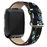 YuKing Flower Design Strap for Fitbit Versa,Soft PU Leather Floral Printed Style Watch Band Strap Wrist Band for Fitbit Versa Smart Fitness Watch (Black+ Green flower)