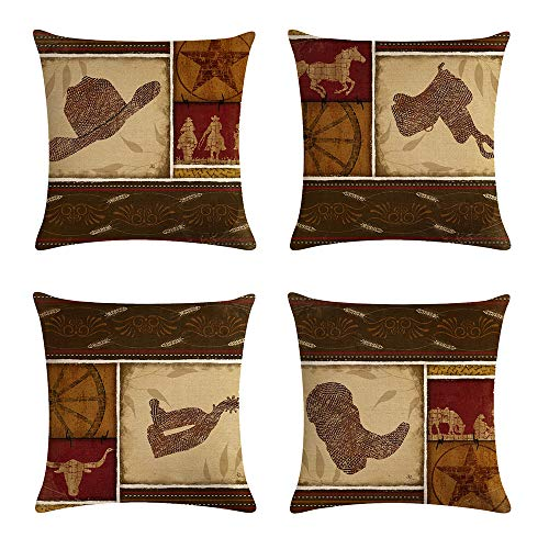 - geinne 4pack Cowboy Style Throw Pillow Case Vintage Western Cowboys Riding Horses Theme Decorative Square Cotton Linen Cushion Cover for 18 X 18 Inch Pillow Inserts (Cowboy-2)