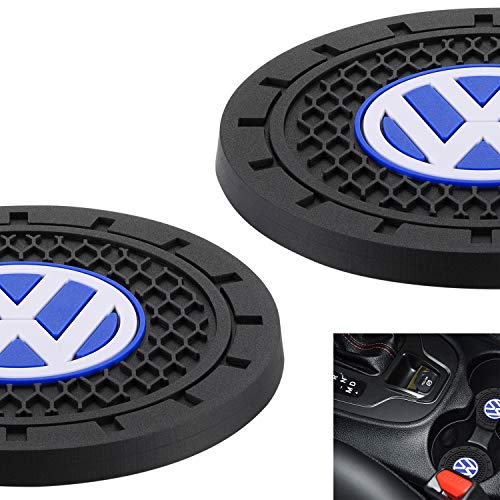 "AOOOOP Car Interior Accessories for Volkswagen VW Cup Holder Insert Coaster - Silicone Anti Slip Cup Mat for VW Jetta Passat Arteon Tuguan Atlas Golf Beetle (Set of 2, 2.75"" Diameter)"