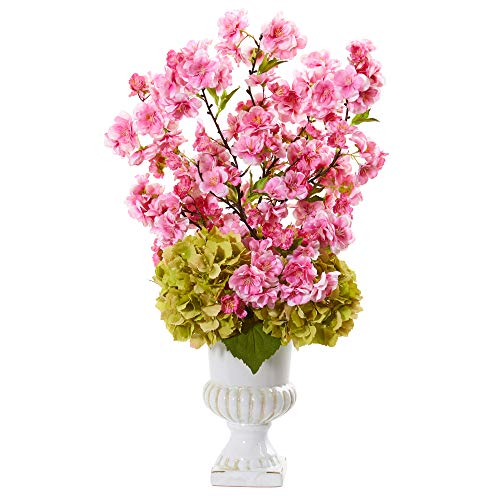 (Nearly Natural A1118 23in. Hydrangea and Cherry Blossom Artificial White Urn Silk Arrangements, Pink)