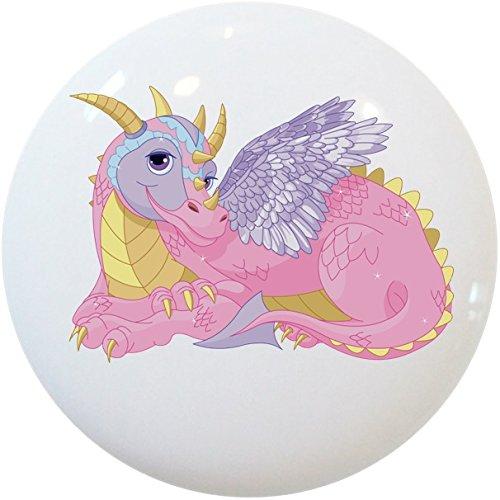 Carolina Hardware and Decor 2399 Pink Purple Lady Dragon Ceramic Cabinet Drawer Knob