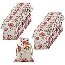 Amariver 24 Pcs Roses Pattern Burlap Drawstring Bag Double Drawstring Linen Bags Reusable Linen Pouches, Perfect for Jewelry Pouch, Wedding Birthday Parties Favor, Gift/Candy Bags, Set of 24