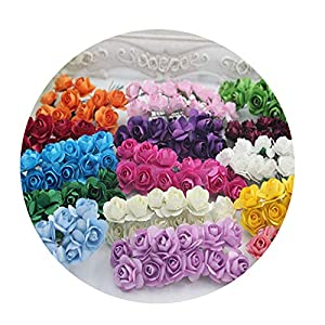 DraFenn 12Pcs / Lot 1.5 cm Artificial Small Paper Rose Handmade Party Wedding Car Decoration Artificial Flower 5