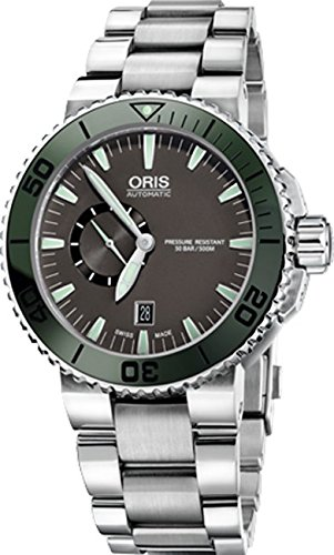 Oris Aquis 45 MM Mens Grey Face Date Swiss Automatic Stainless Steel Watch 74376734157MB
