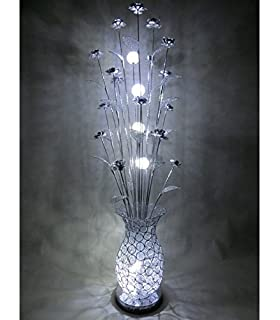 Passion purple silver woven wire and aluminium led floor table carmen led woven wire metal silver floor standing standard floral flower lamp greentooth Image collections