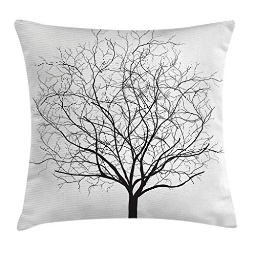 (Ambesonne Tree Throw Pillow Cushion Cover, Old Withered Oak Crown Without Leaves Tree Branches Rustic Theme Illustration, Decorative Square Accent Pillow Case, 20 X 20 Inches, Charcoal Grey White)