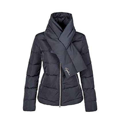 93f7383ef654 Amazon.com   Equiline - Ladies Quilted Down Jacket with Scarf Preppy ...