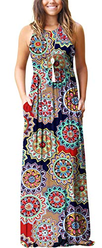 GRECERELLE Women's Casual Loose Long Dress Sleeveless Floral Print Maxi Dresses with Pockets Round Flower Navy (Flower Print Maxi Dress)