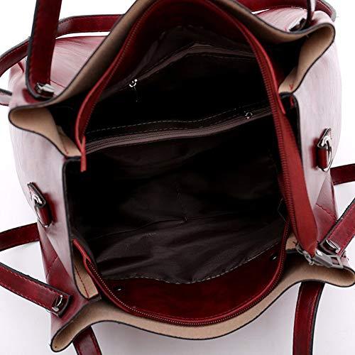 Puro Pacchetto Borsa A LUCKYCCDD Per Pacchetto Donna Brown Frizione Borsetta Colore Di Pezzi Grey 4 Diagonale Master Pelle Set Portafoglio xFqOT5OX