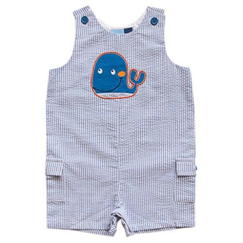 Good Lad Newborn/Infant Boys Seersucker Shortall with Adorable Whale Applique - Baby Shortalls Boy
