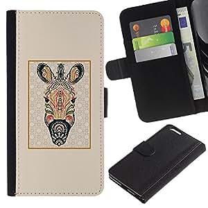 KLONGSHOP // Tirón de la caja Cartera de cuero con ranuras para tarjetas - Modelo de la cebra psicodélico África Animal - Apple Iphone 6 PLUS 5.5 //
