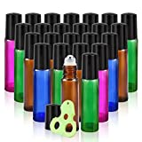 Olilia 10 ml Glass Roll on Bottles with Metal Roller Balls, 24 Pack, Essential Oils Opener