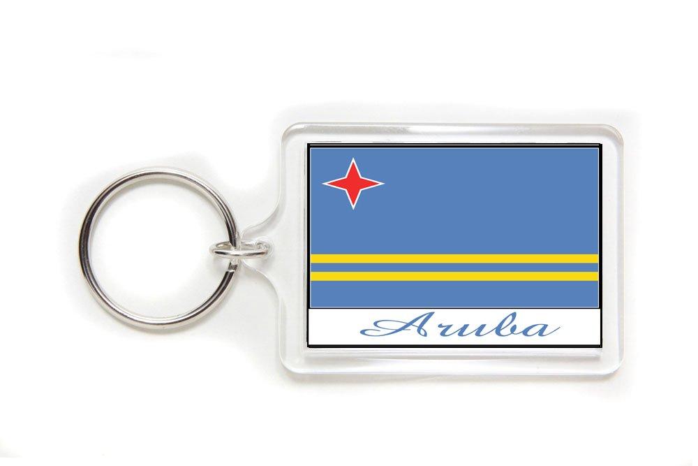Souvenir Aruba Aruban Flag Double Sided Acrylic Key Ring Large