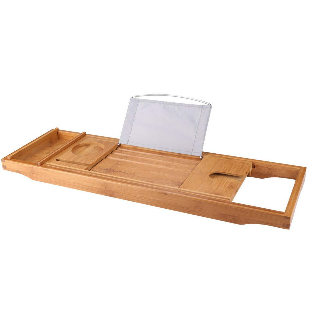 SUNFICON Bamboo Bathtub Caddy Tray with Extending Sides Mug/Wineglass/Smartphone Holder, Metal Frame Book/Pad/Tablet Holder with Waterproof Cloth Detachable Sliding Tray Non-Slip Rubber Base