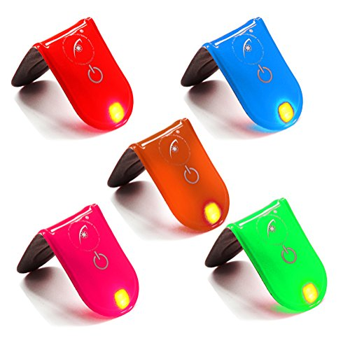 OSOPOLA LED Safety Reflective Clip Light Running Cycling Dog Walking Jogging High Visibility Magenet Clip Bicycle Helmet Bike Tail light 5pcs Multiple Colors by OSOPOLA