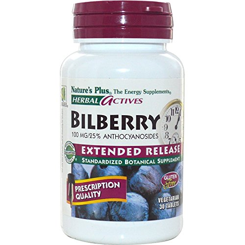 Nature's Plus, Herbal Actives, Bilberry, Extended Release, 100 mg, 30 Veggie Tabs - 3PC by Nature's Plus