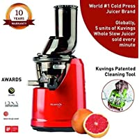 Kuvings Professional 240 Watt Cold Press Juicer - with Patented Wide Mouth Technology to Juice Whole Fruits, Vegetables & Green Leafy Vegetables + Make Nut Milk (B1700 Red)