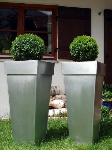 2er Set Zink Blumenkübel Übertöpfe Pflanzkübel Blumentopf