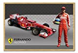 Ferrari Alonso & F1 Car Poster Cork Pin Memo Board Beech Framed - 96.5 x 66 cms (Approx 38 x 26 inches)