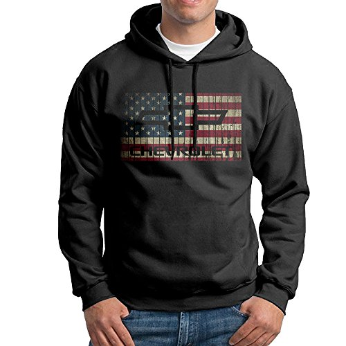 IcyHot Men's Sweatshirt Chevy Chevrolet With American Flag Size L (Second Best Hoodie Sweatshirt)