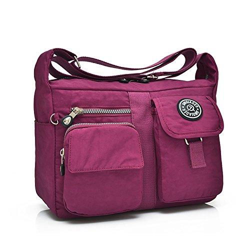 Outreo Mujer Bolsos de Moda Bolso Bandolera Bolsas de Viaje Escolares Impermeable Bolsos Baratos Mano Sport para Tablet Messenger Bag Nylon Rojo