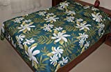 Hawaiian Quilt 100% Polyester Micro Fabric 4mm Thin Comforter Queen /Full Size (Turquoise)