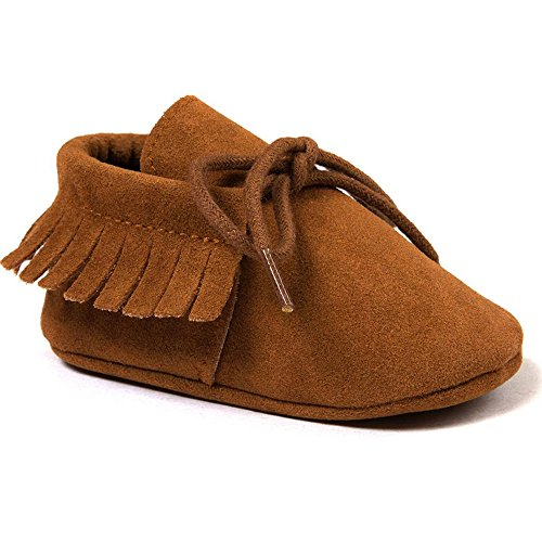 Royal Victory R&V Unisex Infant Baby Boys' Girls' Moccasins Soft Sole Tassels Prewalker Anti-Slip Toddler Shoes (M:6~12 Months, Bandage Tan) ()