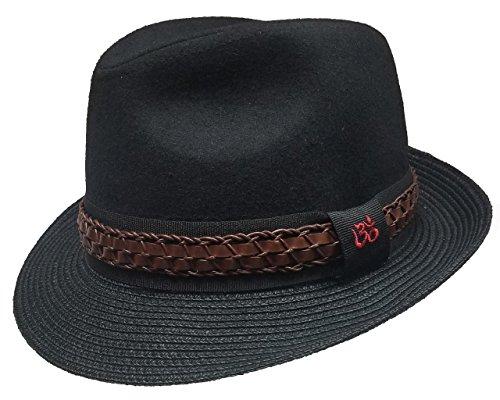 Dorfman Pacific Carlos Santana Fedora w/ Toyo Brim (Sewn Braid Fedora Hat)